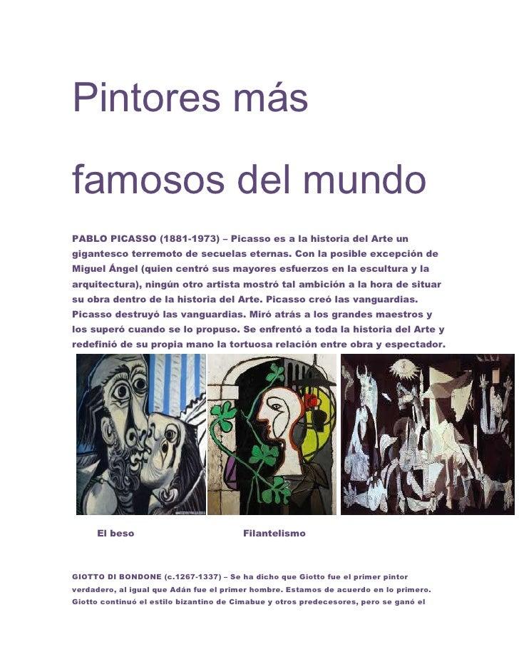 Pintores más famosos del mundo