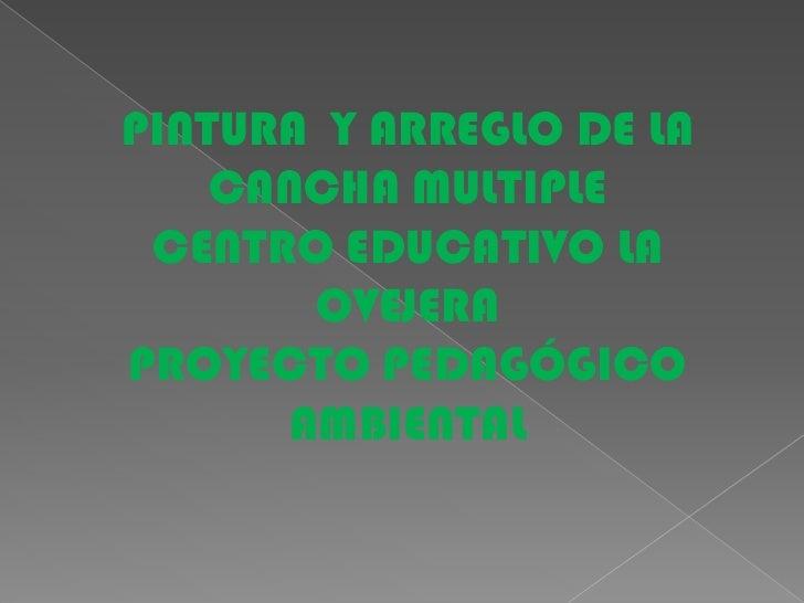 PINTURA  Y ARREGLO DE LA CANCHA MULTIPLE <br />CENTRO EDUCATIVO LA OVEJERA <br />PROYECTO PEDAGÓGICO AMBIENTAL<br />