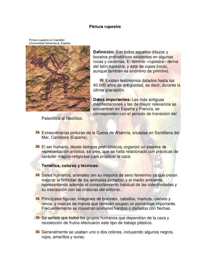 Pintura rupestre<br />Pintura rupestre en Castellón <br />(Comunidad Valenciana), España.<br />-12763520955Definición: Son...