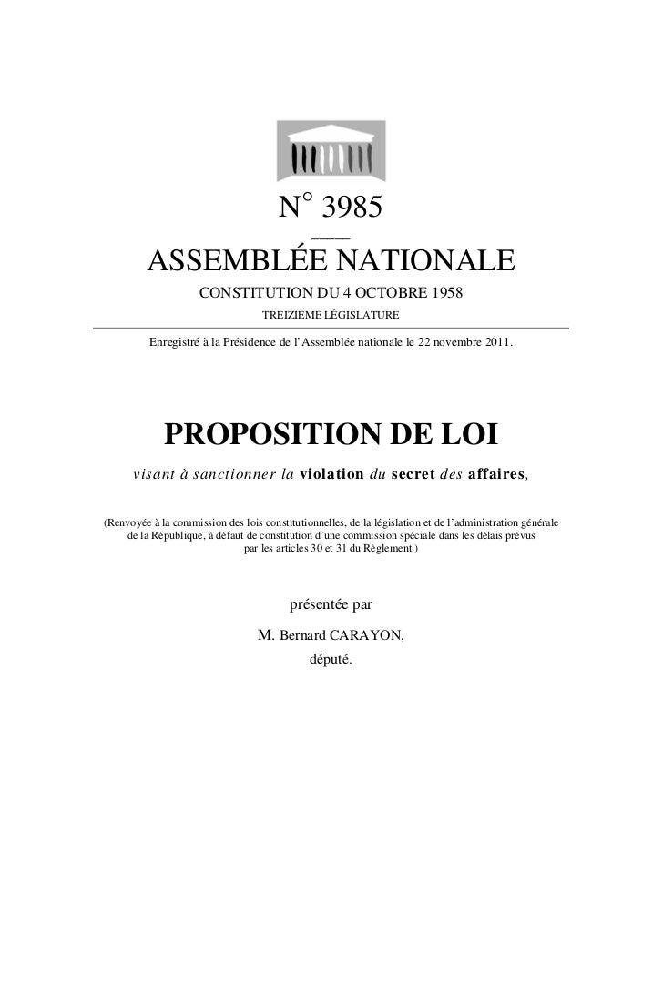 N° 3985                                               _____         ASSEMBLÉE NATIONALE                     CONSTITUTION D...