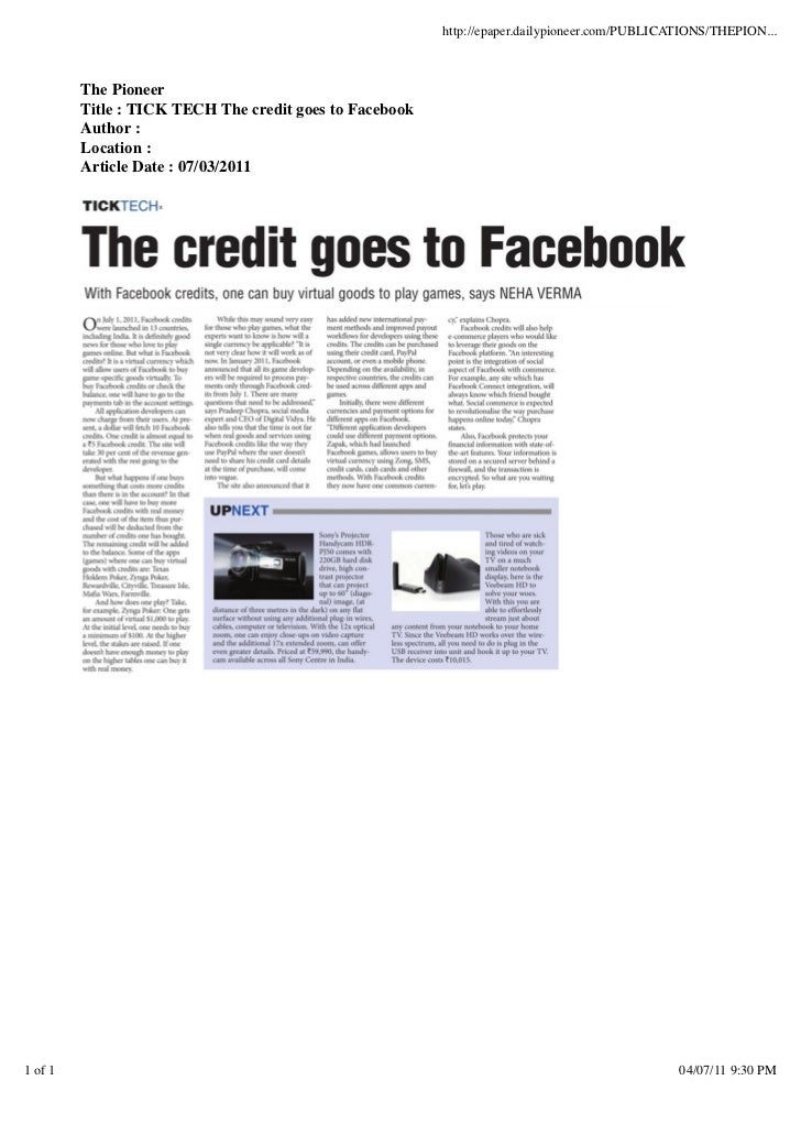 http://epaper.dailypioneer.com/PUBLICATIONS/THEPION...         The Pioneer         Title : TICK TECH The credit goes to Fa...