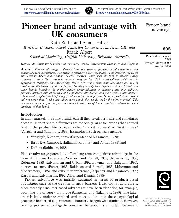 Pioneer Brand Advantage With UK Consumers