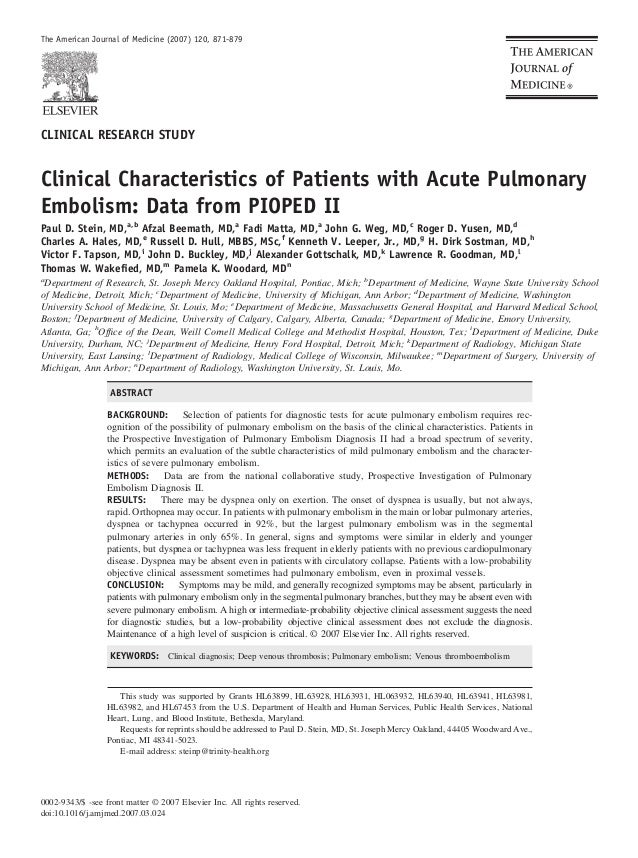 The American Journal of Medicine (2007) 120, 871-879CLINICAL RESEARCH STUDYClinical Characteristics of Patients with Acute...