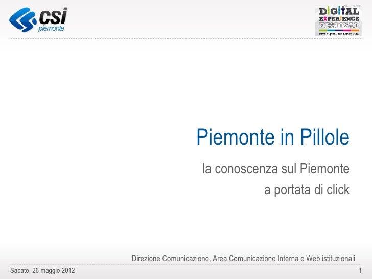 Piemonte in Pillole. La conoscenza sul Piemonte a portata di click