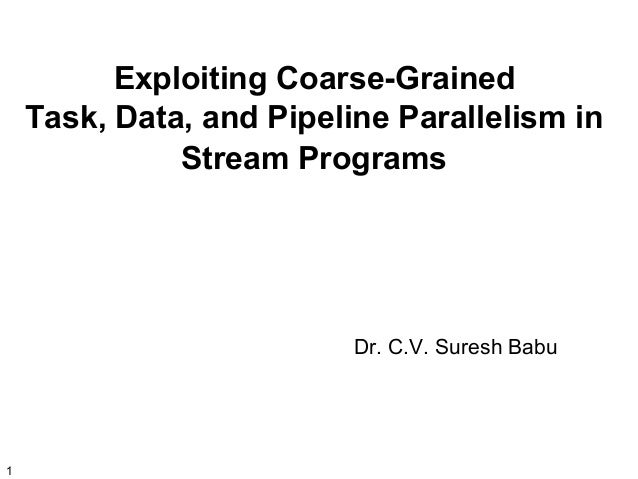 Exploiting Coarse-Grained Task, Data, and Pipeline Parallelism in Stream Programs  Dr. C.V. Suresh Babu  1