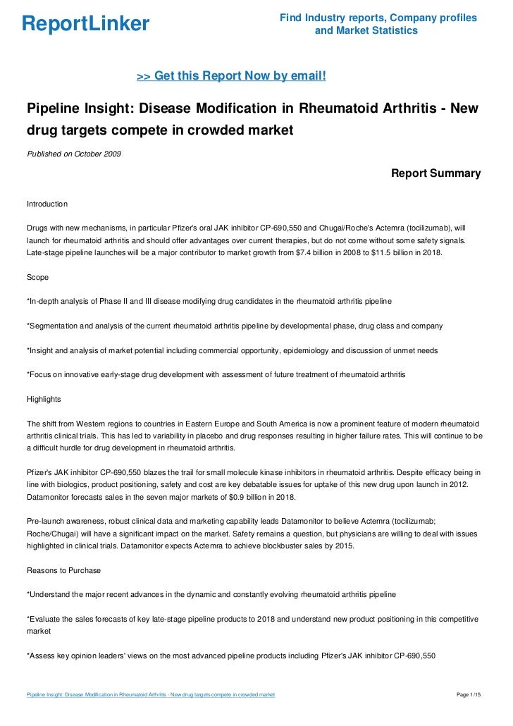 Pipeline Insight: Disease Modification in Rheumatoid Arthritis - New drug targets compete in crowded market