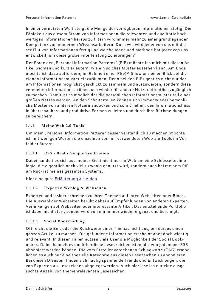 Personal Information Patterns                                 www.LernenZweinull.de   In einer vernetzten Welt steigt die ...