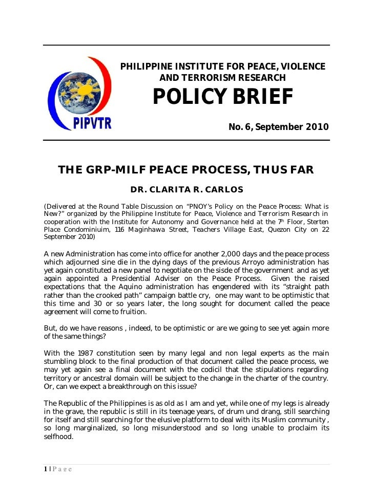 PHILIPPINE INSTITUTE FOR PEACE, VIOLENCE                                 AND TERRORISM RESEARCH                           ...