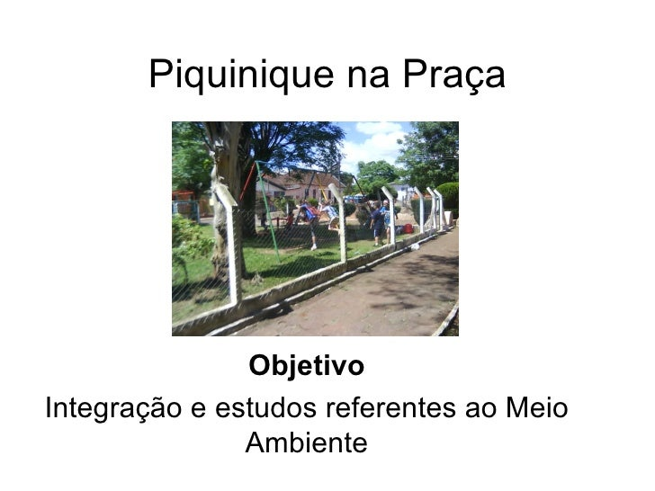 Piquinique na Praça Objetivo Integração e estudos referentes ao Meio Ambiente