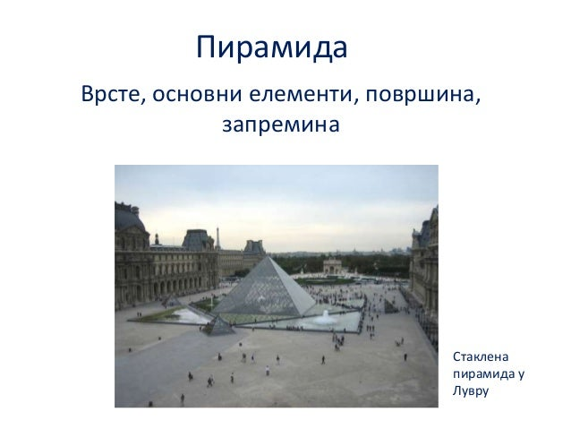 Пирамида Врсте, пснпвни елементи, ппвршина, запремина  Стаклена пирамида у Лувру