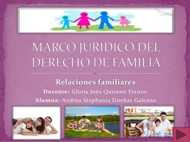 Relaciones familiares  Docente: Gloria Inés Quiceno FrancoAlumna: Andrea Stephania Dueñas Galeano