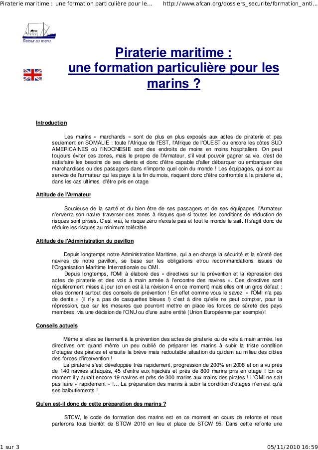Retour au menu Piraterie maritime : une formation particulière pour les marins ? Introduction Les marins « marchands » son...