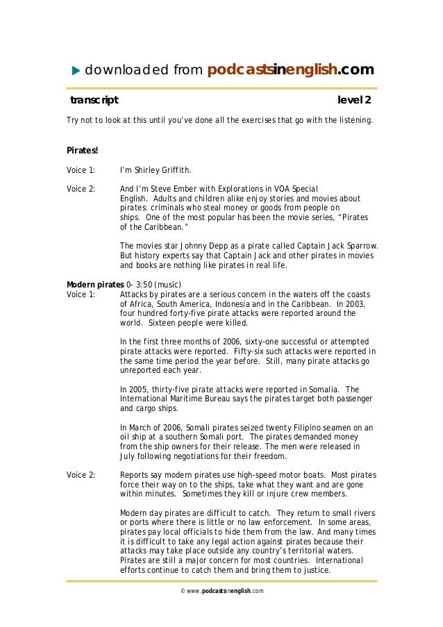 downloaded from podcastsinenglish.com transcript level 2 Try not to look at this until you've done all the exercises that ...