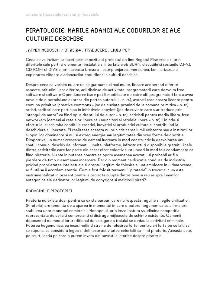 writeme @ liviupop.info / scrie-mi @ liviupop.info    piratologie: marile adanci ale codurilor si ale culturii deschise : ...