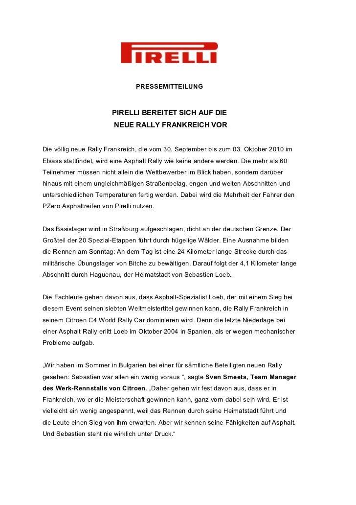 PRESSEMITTEILUNG                        PIRELLI BEREITET SICH AUF DIE                         NEUE RALLY FRANKREICH VORDie...