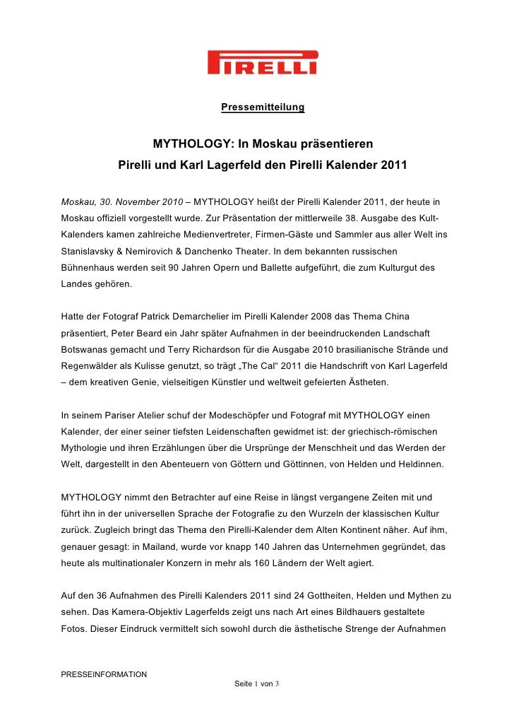 Pressemitteilung                      MYTHOLOGY: In Moskau präsentieren             Pirelli und Karl Lagerfeld den Pirelli...