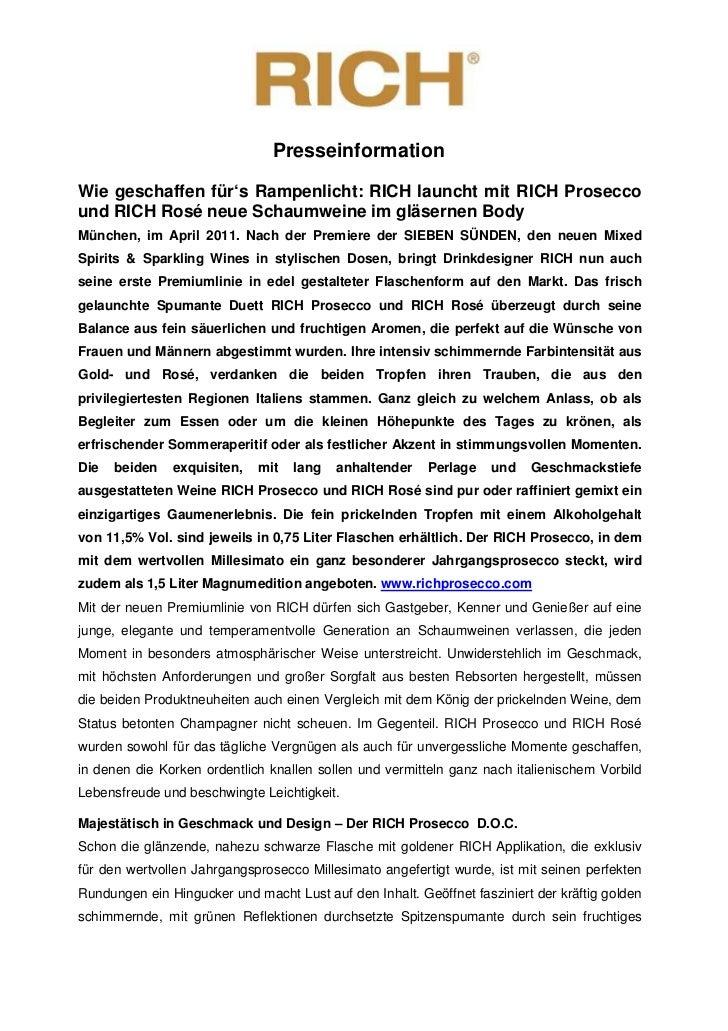 PresseinformationWie geschaffen für's Rampenlicht: RICH launcht mit RICH Proseccound RICH Rosé neue Schaumweine im gläsern...