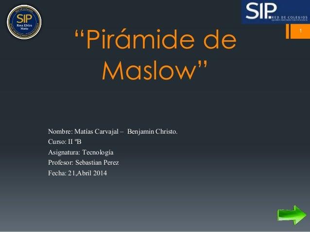 """Pirámide de  Maslow""  Nombre: Matías Carvajal – Benjamin Christo.  Curso: II ºB  Asignatura: Tecnología  Profesor: Sebast..."