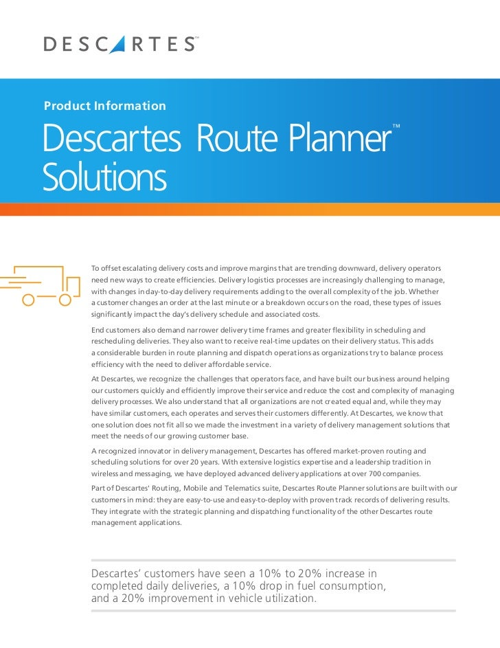 Product InformationDescartes Route Planner                                                                                ...