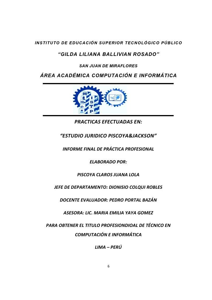 """INSTITUTO DE EDUCACIÓN SUPERIOR TECNOLÓGICO PÚBLICO              """"GILDA LILIANA BALLIVIAN ROSADO""""INSTITUTO DE EDUCACIÓN SU..."""