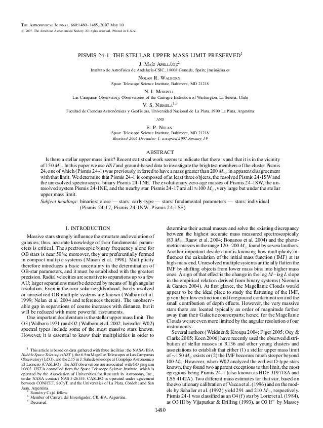 The Astrophysical Journal, 660:1480Y 1485, 2007 May 10# 2007. The American Astronomical Society. All rights reserved. Prin...