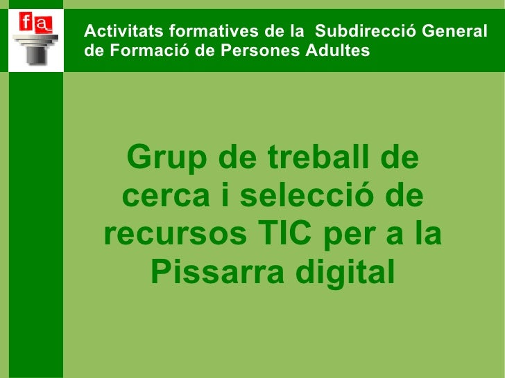 Activitats formatives de la  Subdirecció General  de Formació de Persones Adultes Grup de treball de cerca i selecció de r...