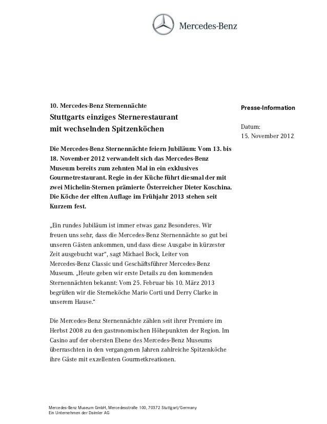 10. Mercedes-Benz Sternennächte                                          Presse-InformationStuttgarts einziges Sterneresta...