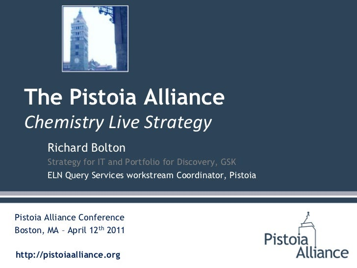 Richard Bolton<br />Strategy for IT and Portfolio for Discovery, GSK<br />ELN Query Services workstream Coordinator, Pisto...