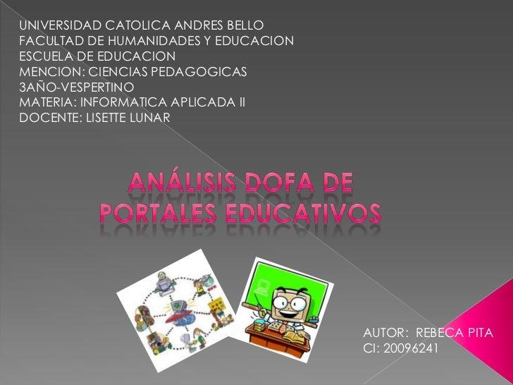 UNIVERSIDAD CATOLICA ANDRES BELLOFACULTAD DE HUMANIDADES Y EDUCACIONESCUELA DE EDUCACIONMENCION: CIENCIAS PEDAGOGICAS3AÑO-...