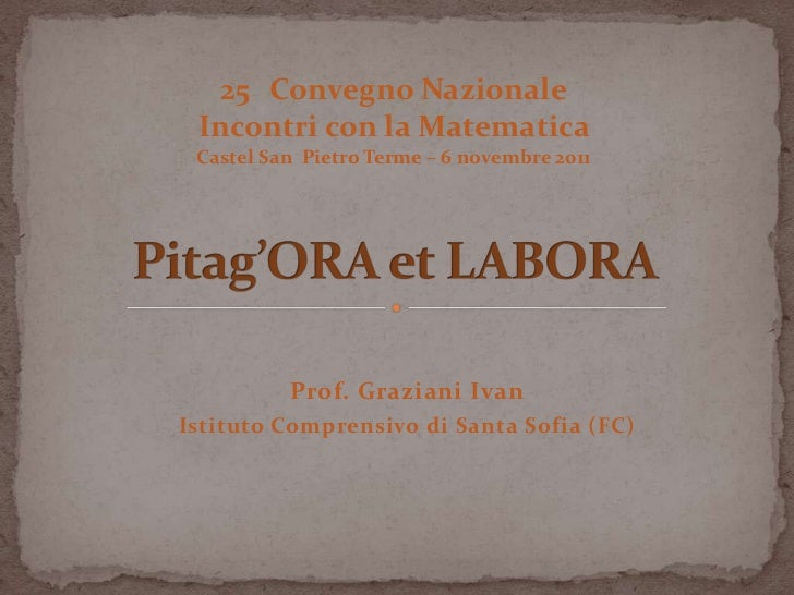 Pitag'ora et labora (di Ivan Graziani)