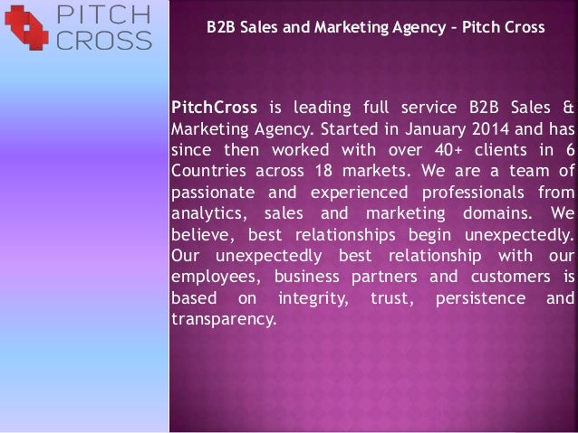 Pitchcrob2b sales and marketing agency pitch crossss for Advertising agency pitch