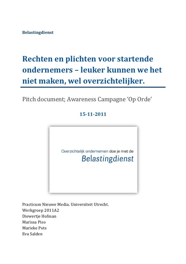 Pitchdocument Op Orde