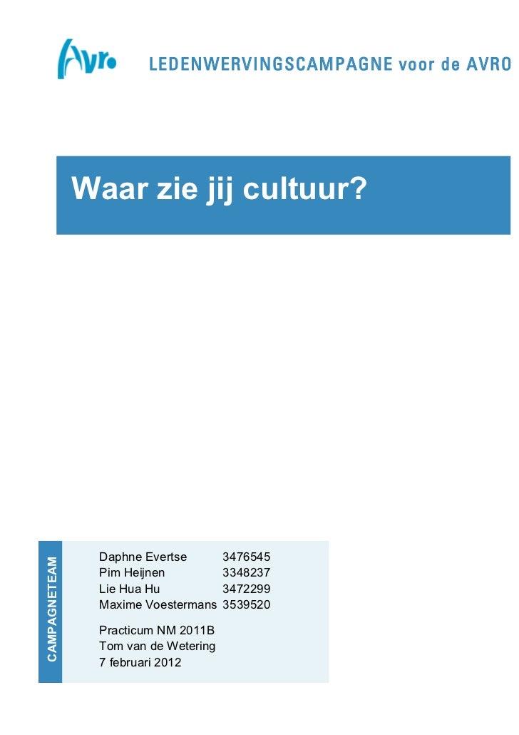 LEDENWERVINGSCAMPAGNE voor de AVRO               Waar zie jij cultuur?                      Daphne Evertse        3476545C...