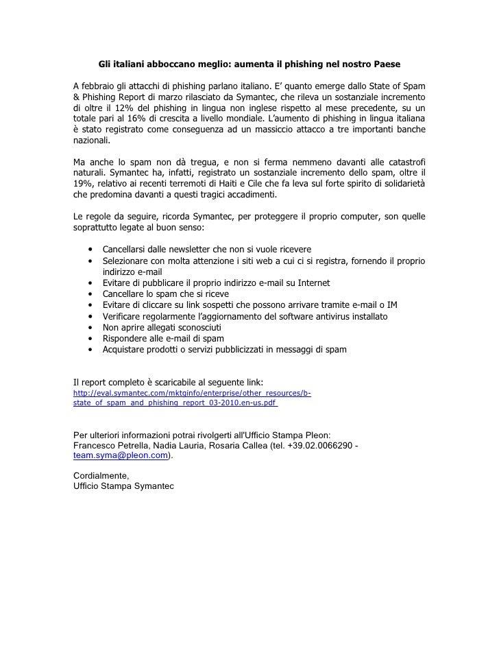 Comunicato stampa spam and Phishing Report - Marzo 2010