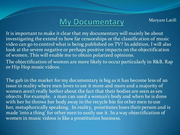Maryam LatifiIt is important to make it clear that my documentary will mainly be aboutinvestigating the extend to how far ...