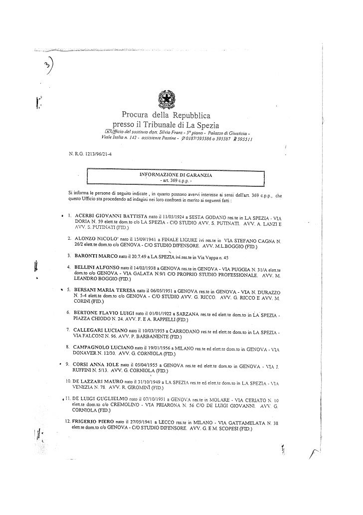 Pitelli informazione di garanzia