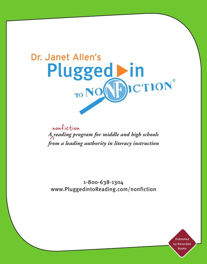 nonfiction A reading program for middle and high schools from a leading authority in literacy instruction                1...