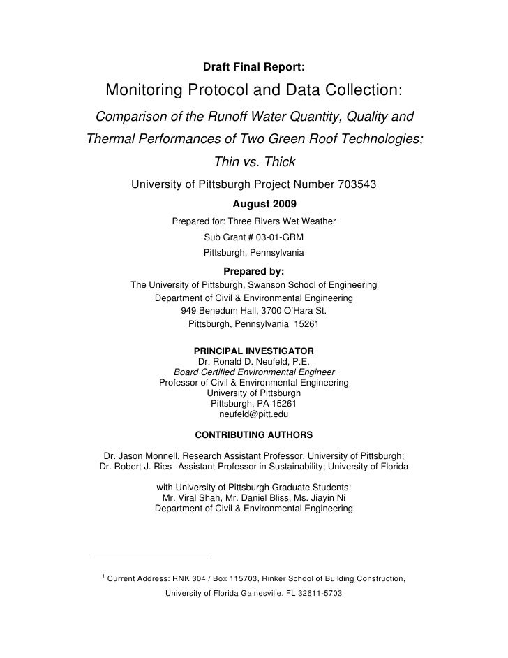 Draft Final Report:        Monitoring Protocol and Data Collection:  Comparison of the Runoff Water Quantity, Quality and ...
