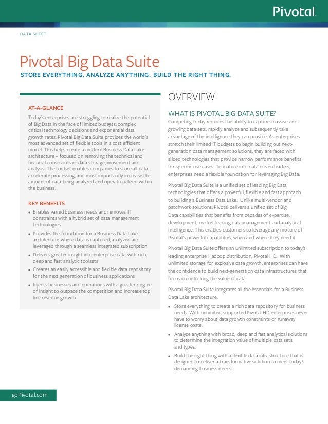 WHAT IS PIVOTAL BIG DATA SUITE? Competing today requires the ability to capture massive and growing data sets, rapidly ana...