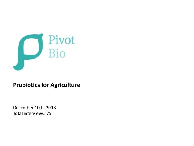 Probiotics for Agriculture  December 10th, 2013 Total interviews: 75