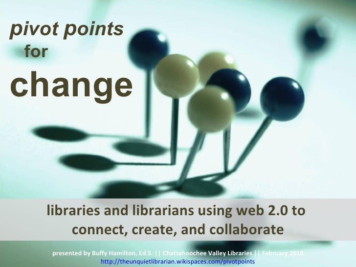 libraries and librarians using web 2.0 to  connect, create, and collaborate presented by Buffy Hamilton, Ed.S. || Chattaho...