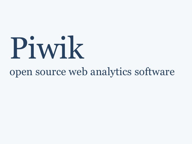 Piwik open source web analytics software