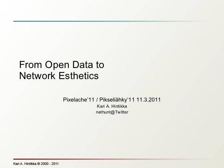 From Open Data to Network Esthetics Pixelache'11 / Pikseliähky'11 11.3.2011 Kari A. Hintikka [email_address]