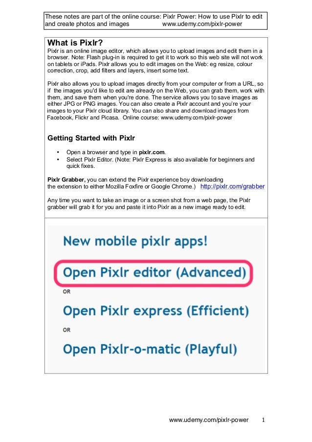 Pixlr: A summary of the menus