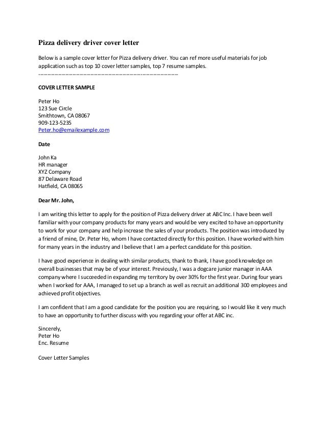 Class C Driver Cover Letter - Resume Templates