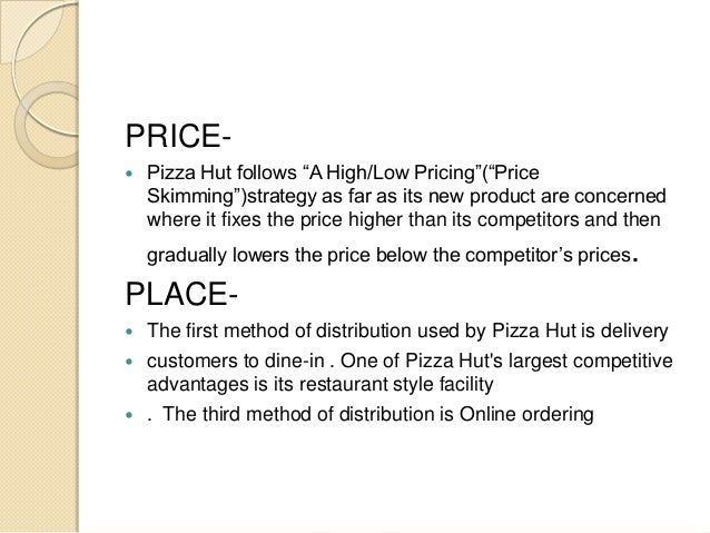 pizza hut marketing brief 2001- pizza hut begins a franchising programme with its delivery stores 2000- pizza hut introduces the edge, a thin pizza with toppings all the way round the edge 1999- pizza hut has over 400 restaurants, employing 14000 people.