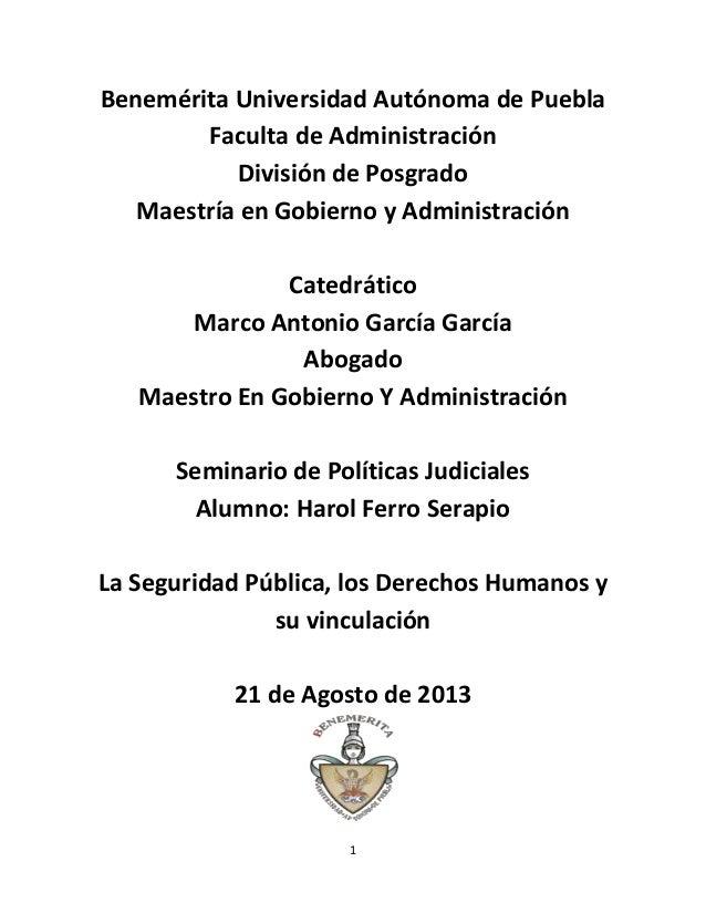 1 Benemérita Universidad Autónoma de Puebla Faculta de Administración División de Posgrado Maestría en Gobierno y Administ...