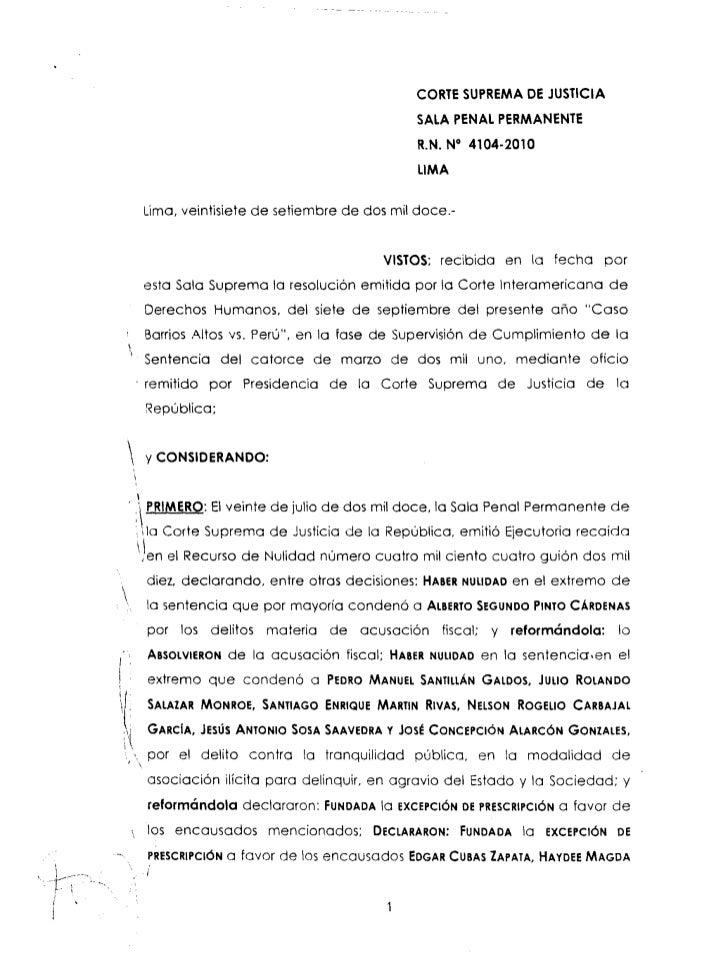 Ejecutoria Suprema que declara nula la cuestionada resolución en el caso Barrios Altos
