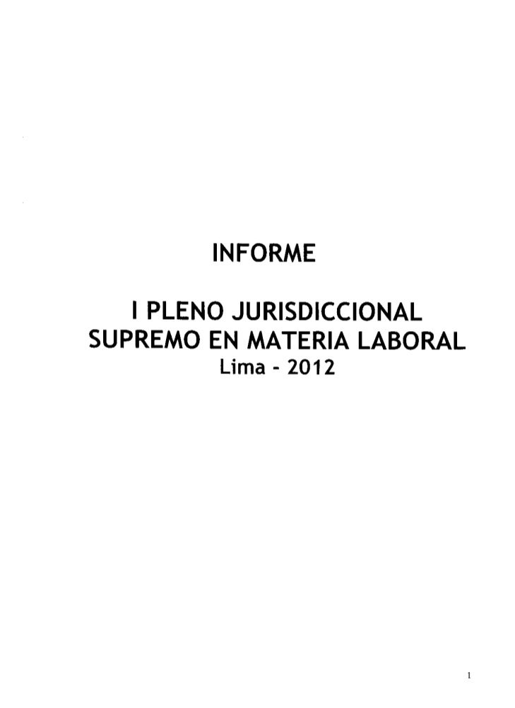 I Pleno Jurisdiccional Supremo en materia Laboral 2012