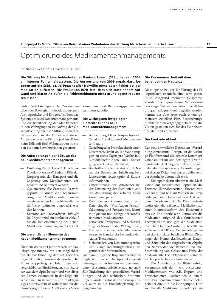  Politik · PolitiquePilotprojekt «Modell Titlis» am Beispiel eines Wohnheims der Stiftung für Schwerbehinderte Luzern    ...